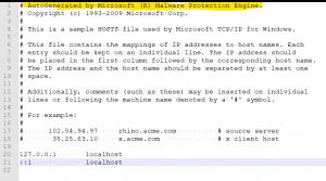 Hosts Datei nach Änderungen durch den Windows Defender